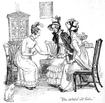 'The spiteful old ladies', illustration from 'Pride & Prejudice' by Jane Austen, edition published in 1894
