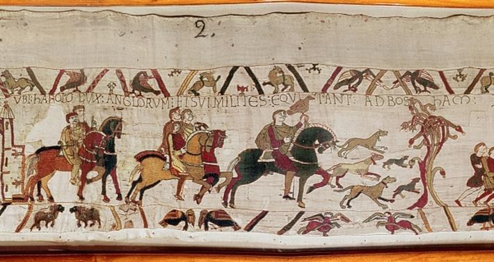 King Edward the Confessor, Earl Harold riding with his knights to Bosham to set sail for France, detail from the Bayeux Tapestry, before 1082