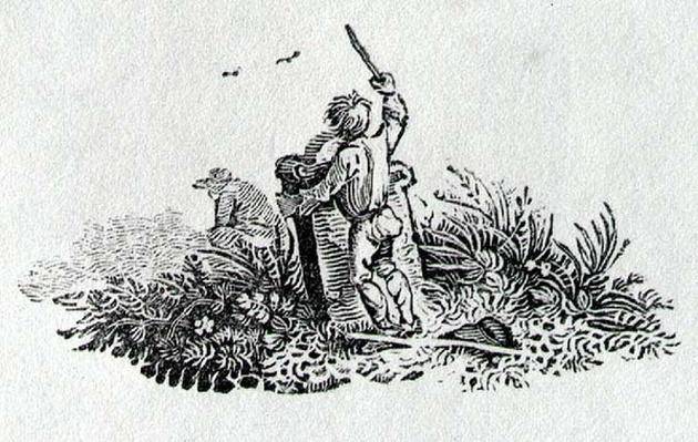 A Boy by a Tombstone from 'History of British Birds and Quadrupeds'