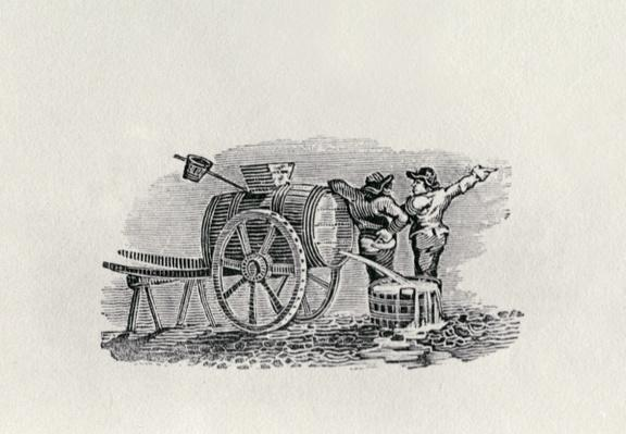 Two Men with a Barrel Cart
