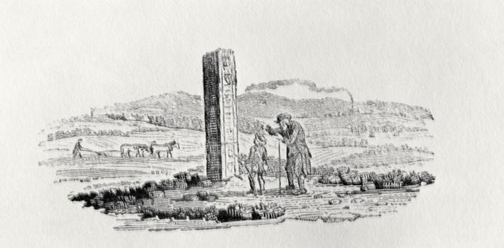 Man and a Boy by a Monument from 'History of British Birds and Quadrupeds'