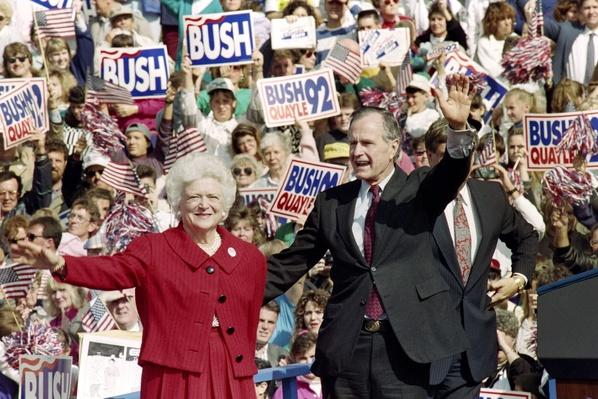 President George H.W. and First Lady Barbara Bush Wave to Supporters at a Rally | U.S. Presidential Elections: 1992