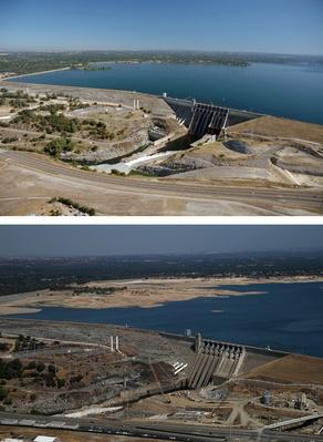 Before And After: Statewide Drought Takes Toll On California's Lake Oroville Water Level | Human Impact on the Physical Environment | Geography