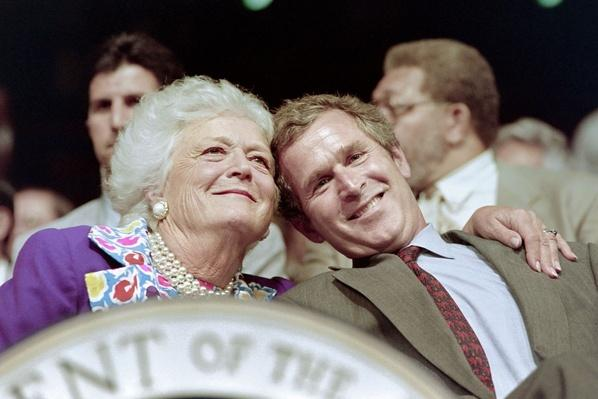 First Lady Barbara Bush and Son, George W. Bush, at the RNC | U.S. Presidential Elections: 1992