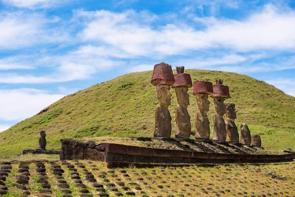 Seven statues (moai) in Ahu Nau Nau | Ancient Civilizations