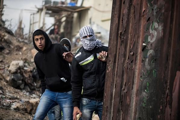 Palestinian Youths Clash With Israeli Army At Kalandia Checkpoint   Palestine-Israel Conflict