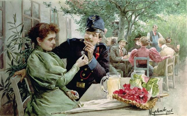 Soldier and a Young Girl Drinking New Wine, 1896