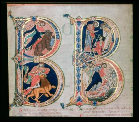 Initial letter `B' Beatus vir - Blessed is the man, from the Winchester Bible, c.1150-80