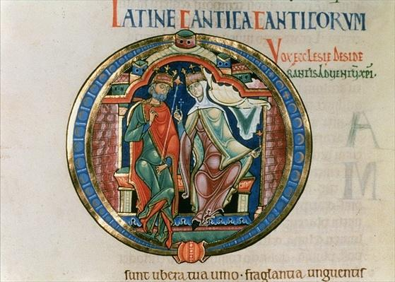 Initial letter `O' Osculatur me - Let me kiss you, from the Winchester Bible, c.1150-80