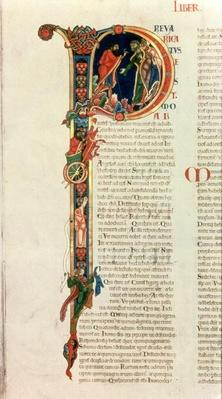 Initial letter `P' Prevaricatus Moab, from the Winchester Bible, c.1150-80