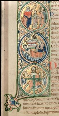 Initial letter `I' In principio - In the beginning, from the Winchester Bible, c.1150-80