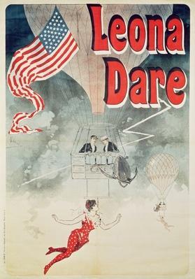 Ballooning: `Leona Dare' poster, 1890