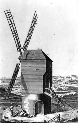 Windmill, from 'Encyclopedie' by M. Diderot and M. D'Alembert, published c.1750-1770