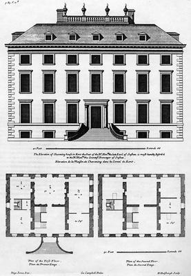 The Elevation of Chevening House in Kent, engraved by H. Hilsbergh, illustration from 'Colen Campbell's Vitruvius Britannicus', published c.1715-1725