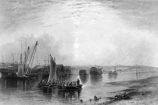 Chatham, Kent, published in Finden's 'Ports and Harbours', engraved by E. Finden, 1842