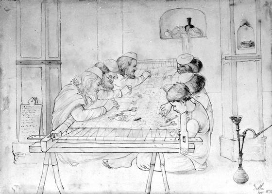 Men working at an embroidery frame, 1870