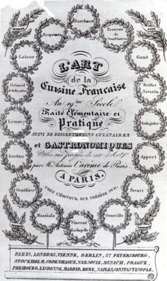 Title Page for 'L'Art de la Cuisine Francaise' vol. III by Antonin Careme, published 1834