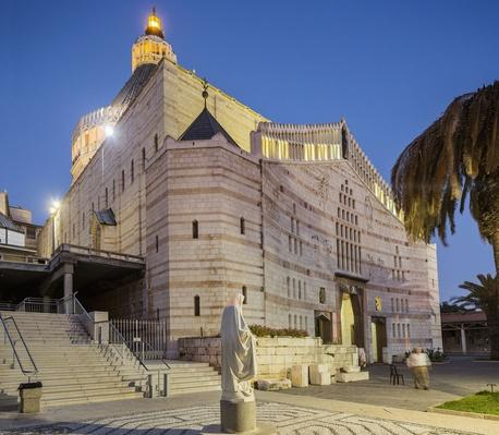 View of Basilica of The Annunciation at twilight | World Religions: Christianity