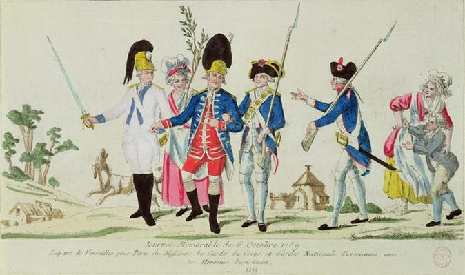 The Memorable Day of 6 October 1789, leaving Versailles for Paris: the Gardes du Corps, the Parisian National Guard and Parisian heroines