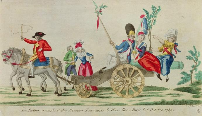 The triumphant return of the French heroines from Versailles to Paris on the 6 October 1789