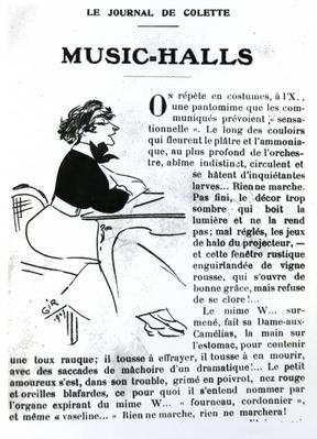 Caricature of Colette from her essay on Music-Halls in 'Vrilles de la Vigne', published in 'La Vie Parisienne, Paris, 1908