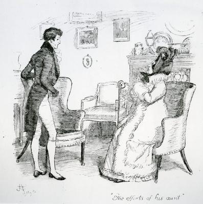 'The efforts of his aunt', illustration from 'Pride & Prejudice' by Jane Austen, edition published in 1894