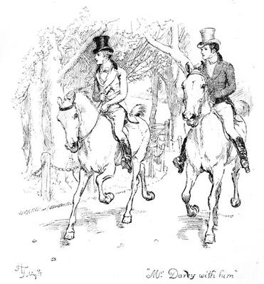 'Mr. Darcy with him', illustration from 'Pride & Prejudice' by Jane Austen, edition published in 1894