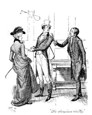 'The obsequious civility', illustration from 'Pride and Prejudice' by Jane Austen, edition published in 1894