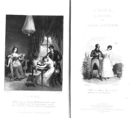 Frontispiece and title page to 'Emma' by Jane Austen, engraved by William Greatbach, edition published in 1833
