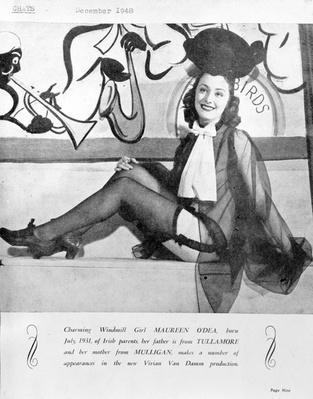 Maureen O'Dea, one of Vivian van Damme's 'Windmill Girls', 1948