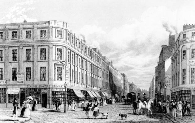 Market Street from the Market Place, Manchester, engraved by Frederick James Havell, 1829
