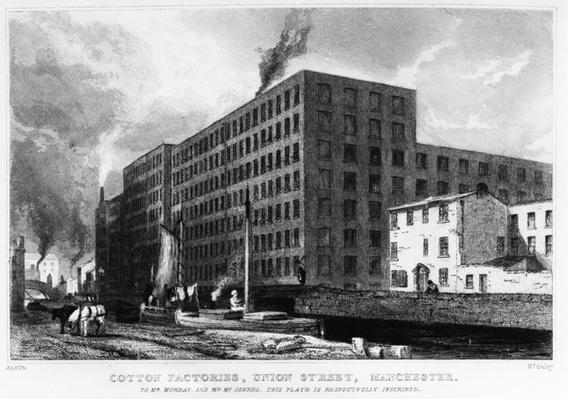 Cotton Factories, Union Street, Manchester, engraved by John McGahey, 1829