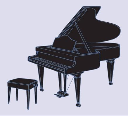 Vector drawing of grand piano and stool for musician | Musical Instruments