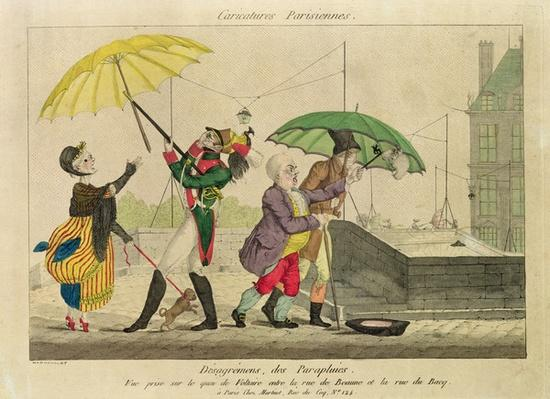 Disagreements over Umbrellas, from 'Caricatures Parisiennes'