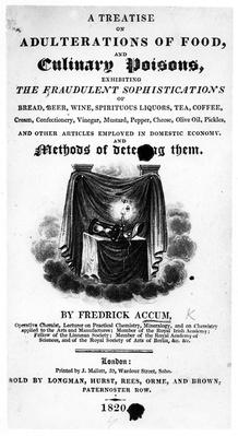 Title Page for 'A Treatise on Adulterations of Food and Culinary Poisons' by Frederick Accum, published 1820