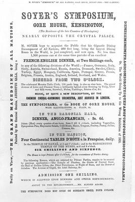Poster for 'Soyer's Symposium', 1851