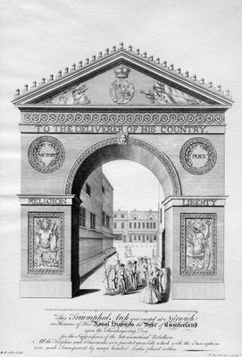 Triumphal Arch erected in Norwich in honour of the Duke of Cumberland, engraved by Paul Fourdrinier, 1746