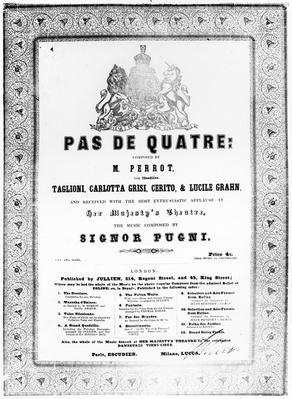 Cover of the sheet music for 'Pas de Quatre' by Jules Perrot, c.1845