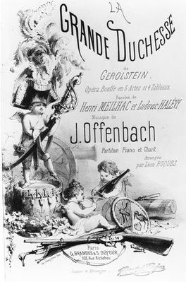 Cover for the piano and singing parts of 'La Grande Duchesse de Gerolstein', words by Henri Meilhac and Ludovis Hal�vy and music by J. Offenbach, print made by the Thierry Brothers, c.1867