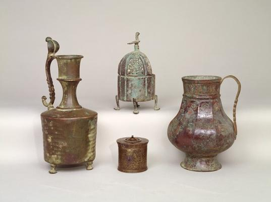 Censer, ewer, inkwell and 12th-13th century jug