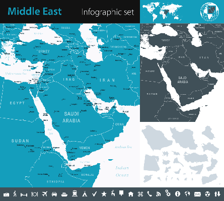 Middle East - Infographic map - illustration | Arab Spring