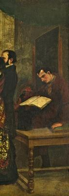 Baudelaire reading a book, detail from 'The Studio of the Painter, a Real Allegory', 1855
