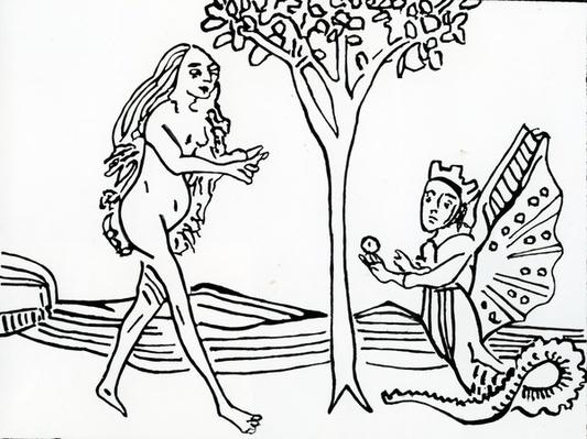 Lilith, winged and crowned, with serpent?s tail, offers the apple to Eve, from 'Speculum Humanae Salvationis', after the original of 1470