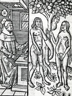 Adam and Eve, illustration from John Lydgate's translation of Boccaccio?s 'De Casibus Virorum Illustrium', 1527