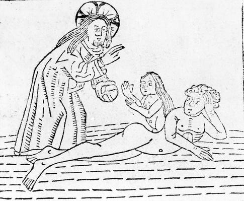 The Creation of Man, illustration from 'Mirror of the World', published by William Caxton in 1481