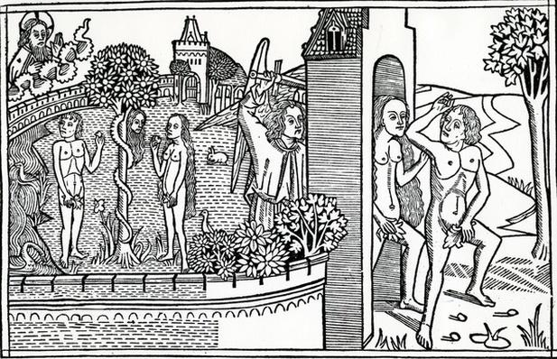 The Fall of Man, illustration from the Quentell Bible, published in 1478