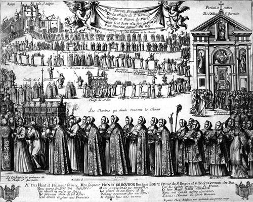 Procession of the Shrine of St. Germain and others from the Abbey of Saint-Germain-des-Pr�s to the Church of Saint-Sulpice, Paris, c.1652