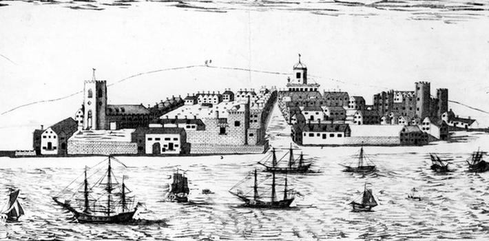 The West Prospect of the Town of Liverpool, as it appeared about the year 1680, lithograph by John R. Isaac