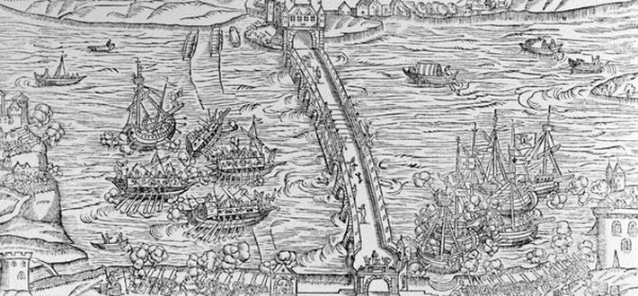A reconstruction of a naval battle performed on the River Seine in front of Henri IV in 1596