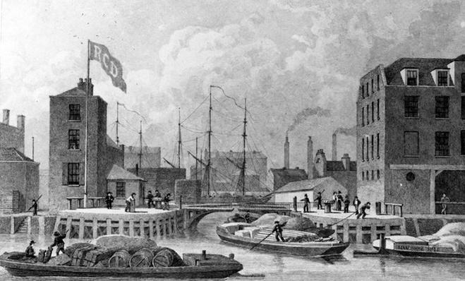 Entrance to the Regent's Canal, Limehouse, engraved by F. J. Havell, 1828